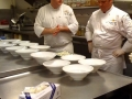 Executive Chef Gelman and Chef Golden contemplating the presentation.